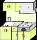 キッチン背景のイラスト1