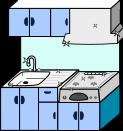 キッチン背景のイラスト2