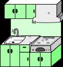 キッチン背景のイラスト3