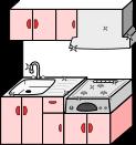 キッチン背景のイラスト4